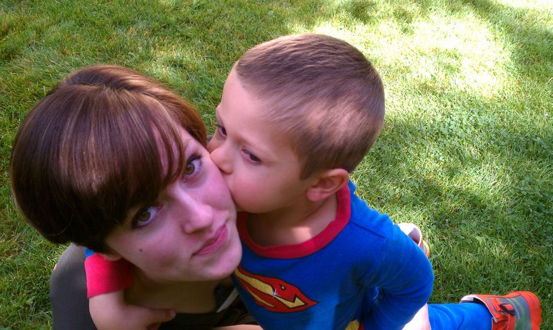 Ashley and Superman at Lake Almanor